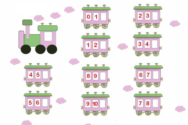 цифры вагончик 3