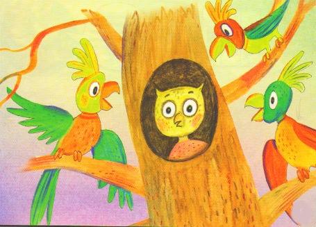 филин и попугаи