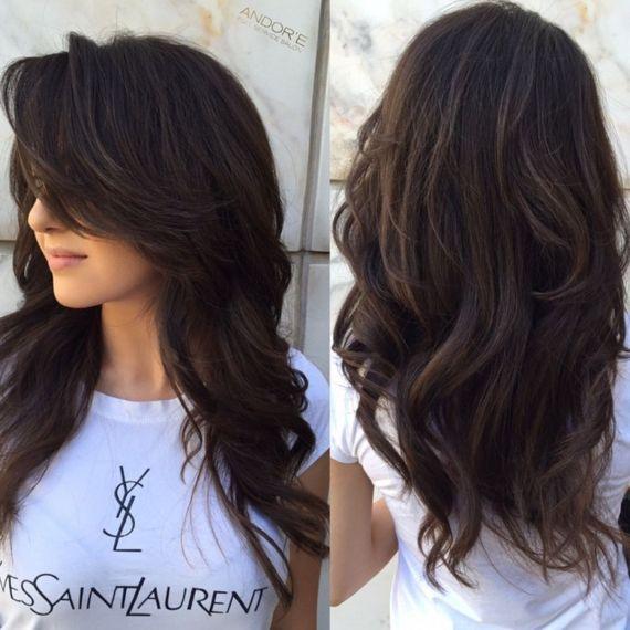 Великолепная многослойная стрижка для густых длинных волос