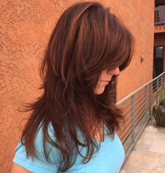 Длинный каштановый коричневый стиль