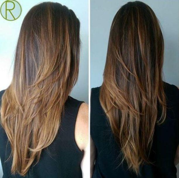 прямые многослойные волосы