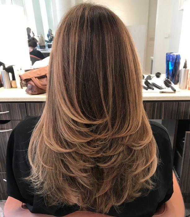 Свупи перевернутые слои для длинных волос
