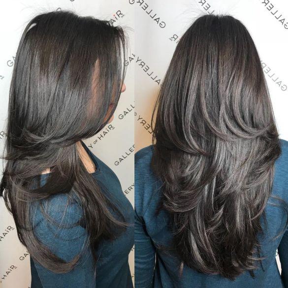 Стрижка длинных густых волос средними слоями